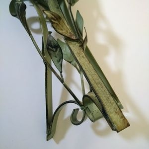 Accents - Distressed Mint Green Metal Leaf Candle Holder